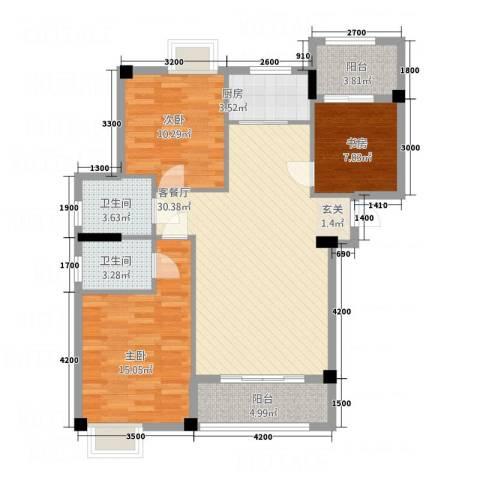 水岸书香3室1厅2卫1厨116.00㎡户型图