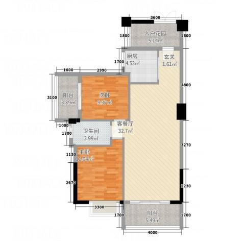 龙泉嘉苑2室1厅1卫1厨76.74㎡户型图