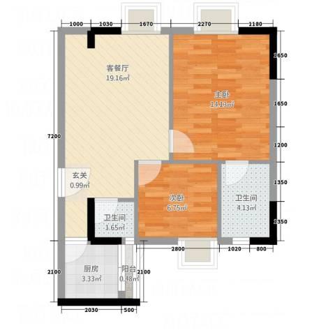 侨邦国际公寓2室1厅2卫1厨49.64㎡户型图