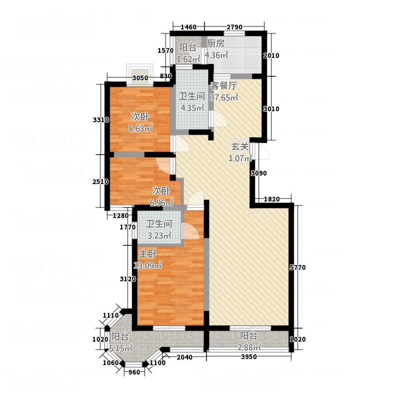 香榭丽舍128.84㎡3户型3室1厅2卫1厨