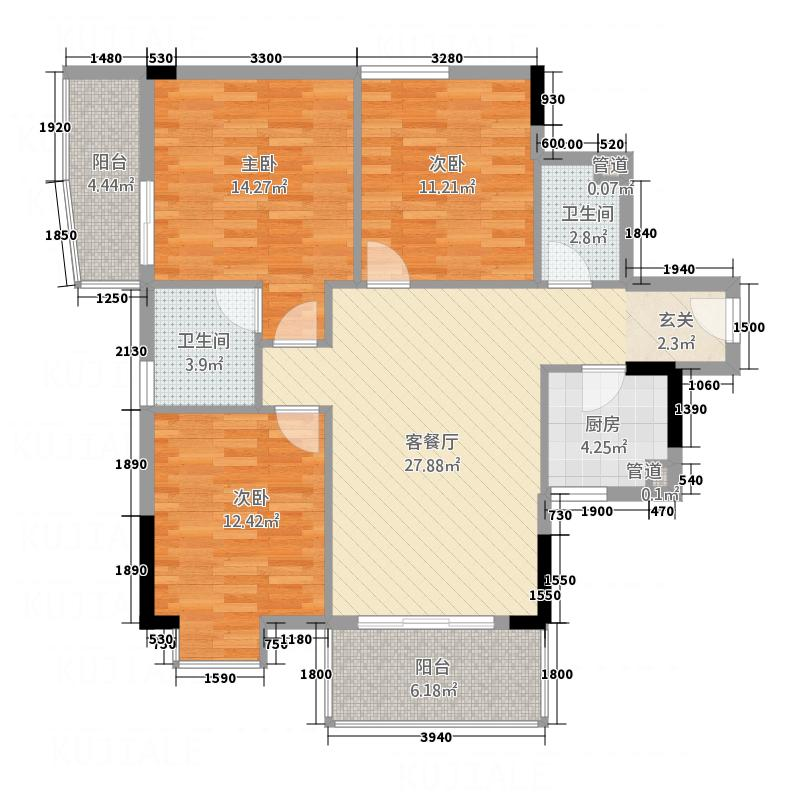 清镇商贸城3户型3室2厅1卫1厨