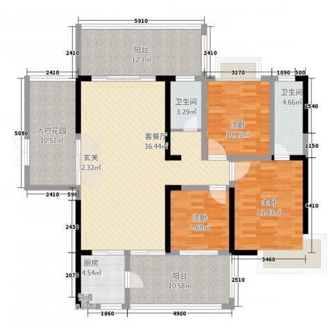 万和乐华花园3室1厅2卫1厨125.00㎡户型图