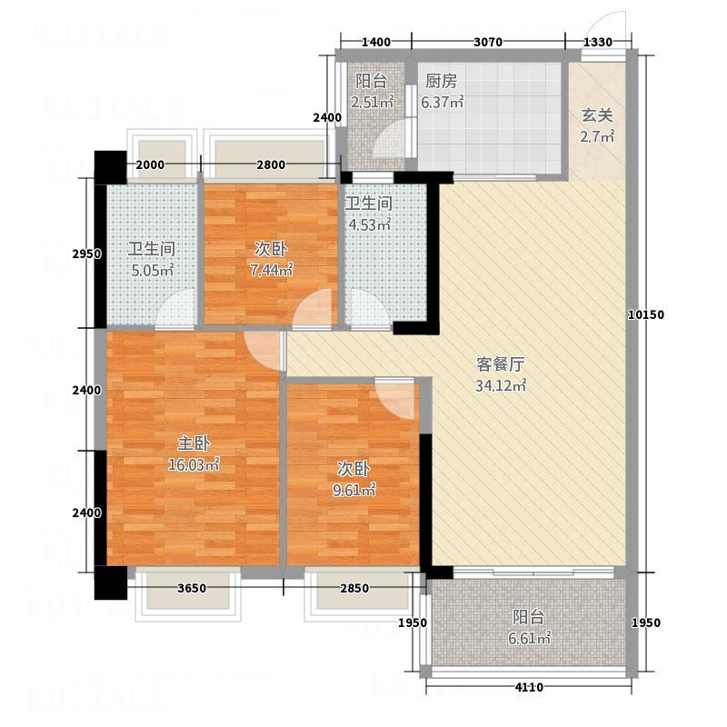 名雅新居11.14㎡P3-1B户型3室2厅2卫1厨