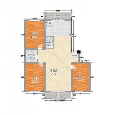 玉环花苑3室1厅2卫0厨114.99㎡户型图