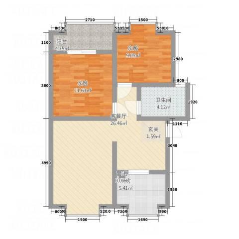 城市春天2室1厅1卫1厨89.00㎡户型图