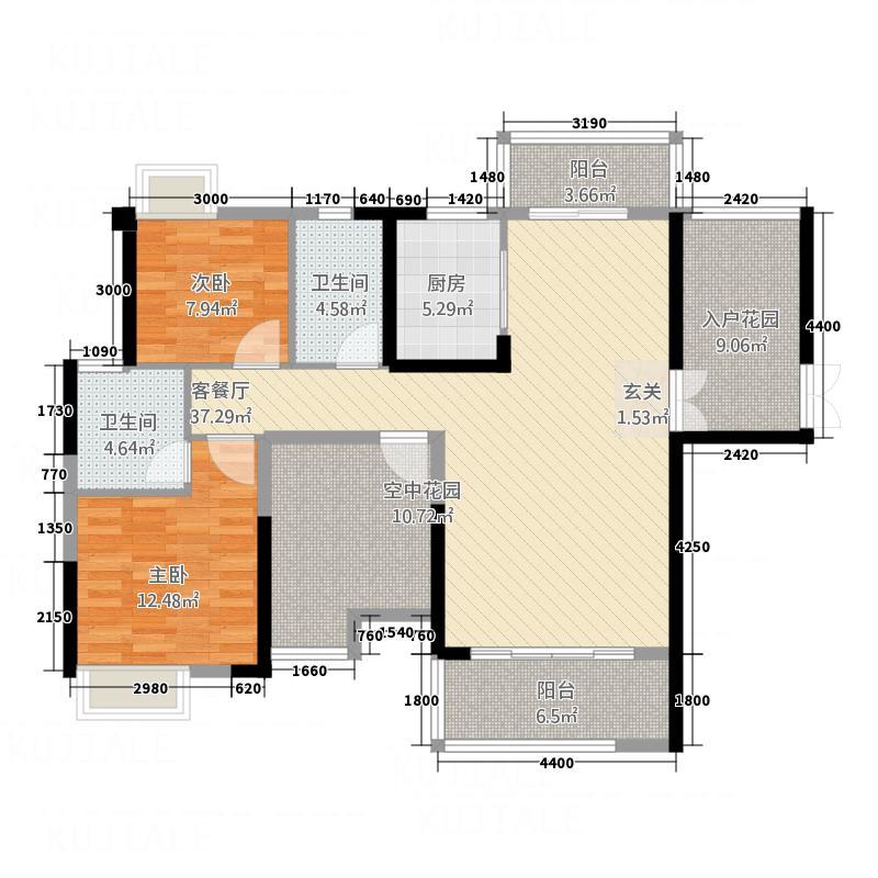 东方威尼斯11.20㎡2栋B1+空中花园户型2室2厅2卫1厨