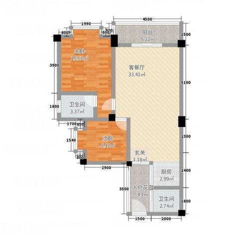 万家乐泰和楼2室1厅2卫0厨71.98㎡户型图