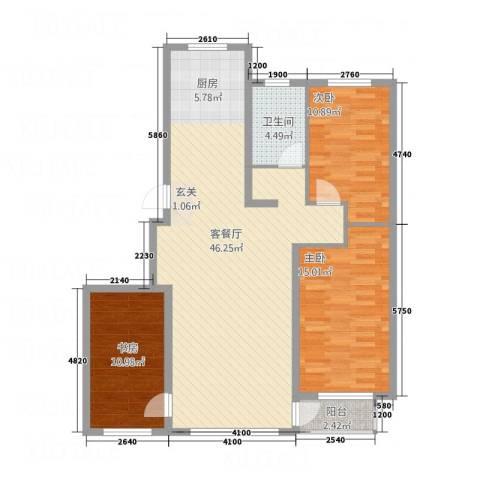 城润万家3室1厅1卫0厨112.00㎡户型图
