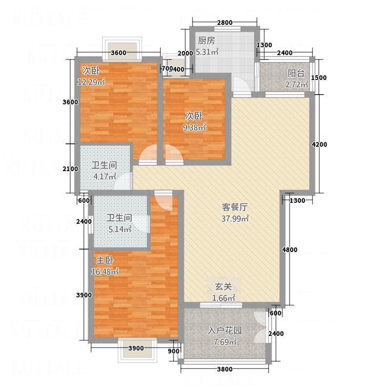 新泰城12.56㎡A1――1栋户型3室2厅2卫1厨