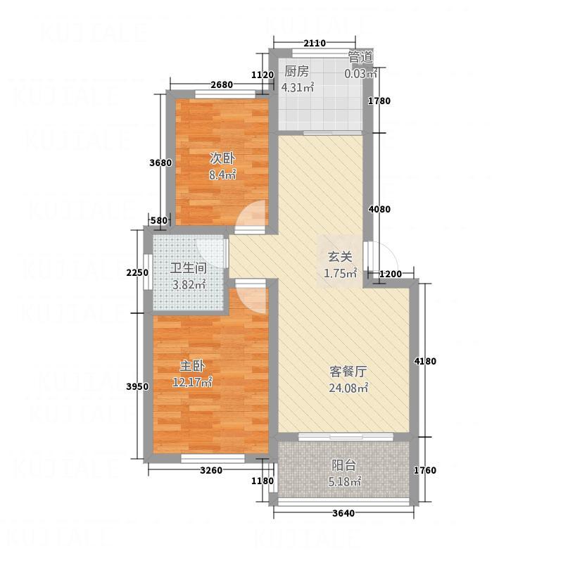 锦绣华庭84.00㎡A户型2室2厅1卫1厨