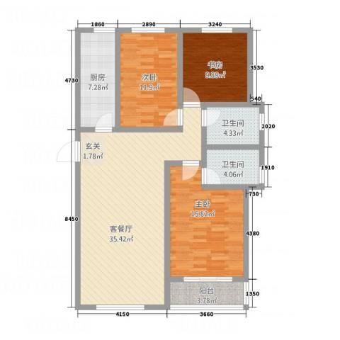 玫瑰公馆3室1厅2卫1厨133.00㎡户型图