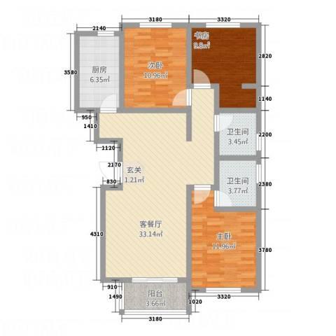 玫瑰公馆3室1厅2卫1厨121.00㎡户型图