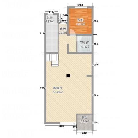 医大宿舍1室1厅1卫1厨123.00㎡户型图