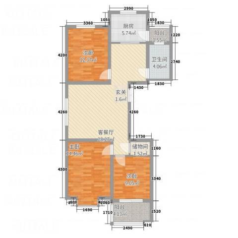 建邦・向�院3室1厅1卫1厨81.16㎡户型图