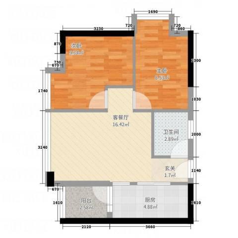 花明大厦2室1厅1卫1厨64.00㎡户型图