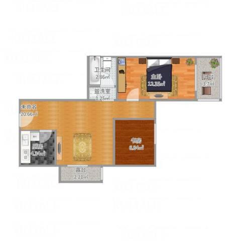 慧忠北里2室1厅1卫1厨74.00㎡户型图