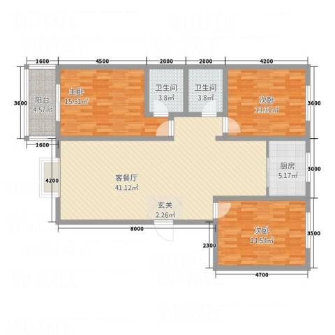 金穗西苑6#楼3室1厅2卫1厨135.00㎡户型图