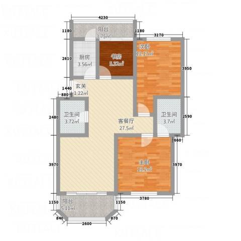 喜得宝花园3室1厅2卫1厨115.00㎡户型图