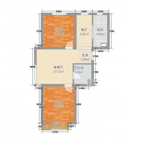 南奥国际2室2厅1卫1厨88.00㎡户型图