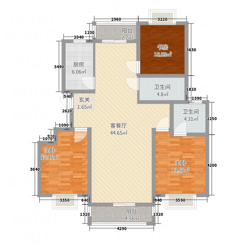书香国际D户型3室2厅2卫1厨
