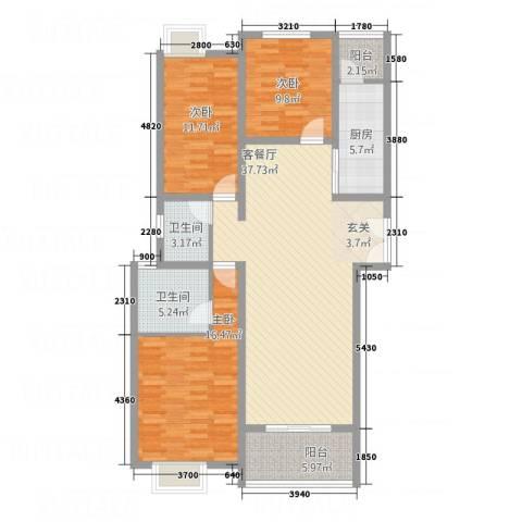 华富世家三期3室1厅2卫1厨97.94㎡户型图