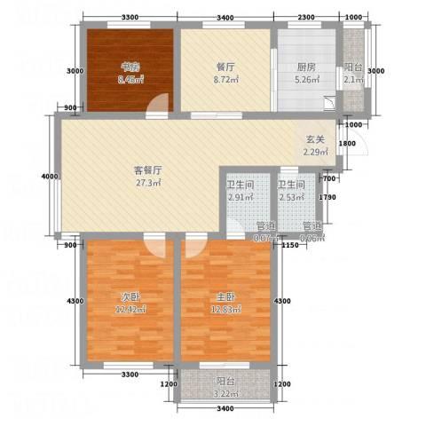 南奥国际3室2厅2卫1厨123.00㎡户型图