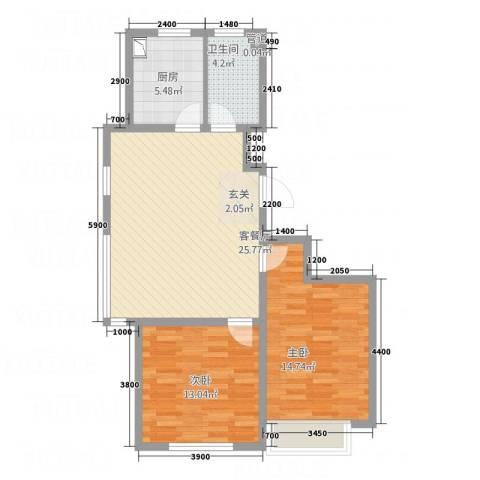 南奥国际2室1厅1卫1厨99.00㎡户型图