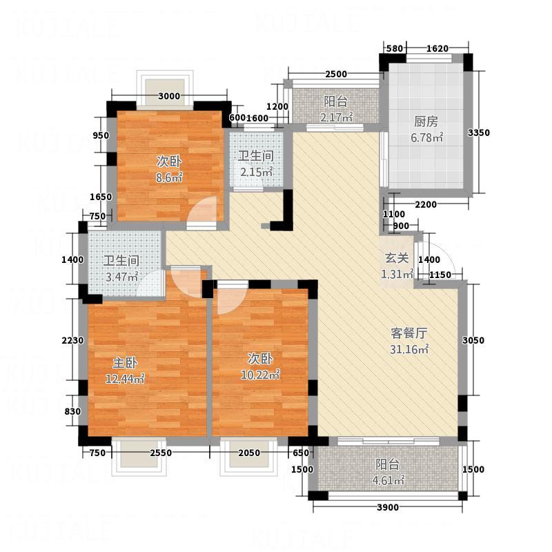 东江御城13116.23㎡C1户型3室2厅2卫1厨