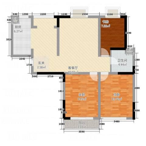 华都馨苑3室1厅1卫0厨98.70㎡户型图