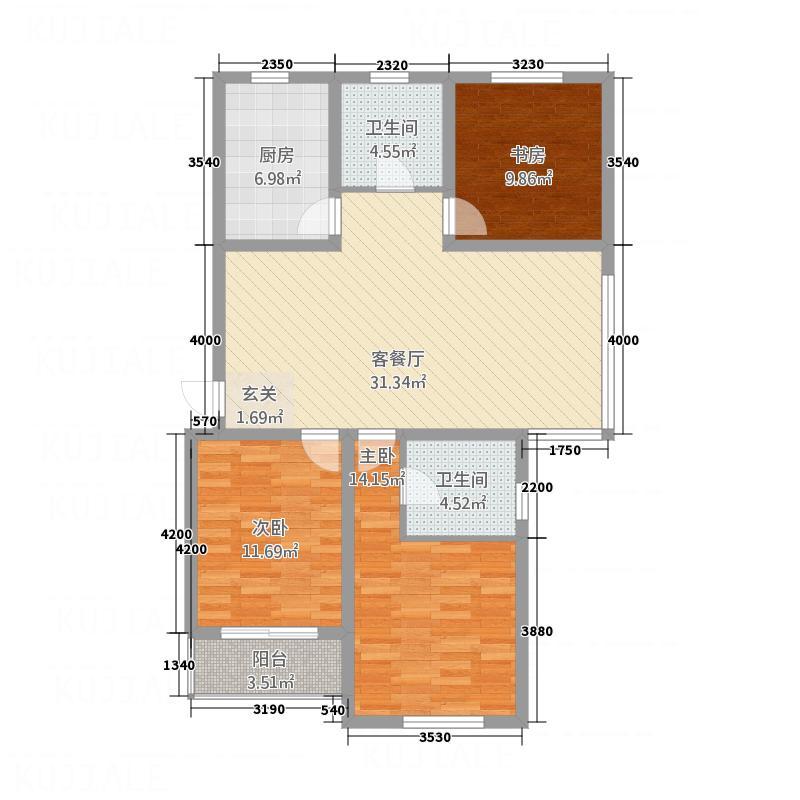 华都馨苑123.37㎡G户型3室2厅2卫1厨