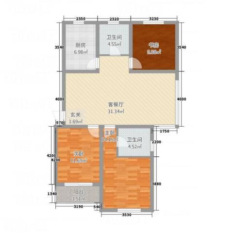 华都馨苑3室1厅2卫1厨98.70㎡户型图