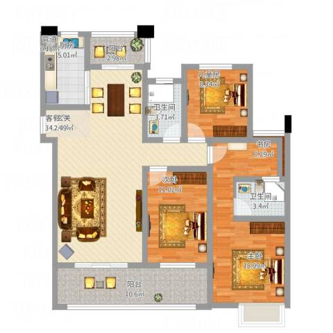 保利香槟国际4室1厅2卫1厨144.00㎡户型图