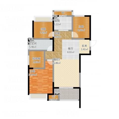 天正理想城3室1厅1卫1厨131.00㎡户型图