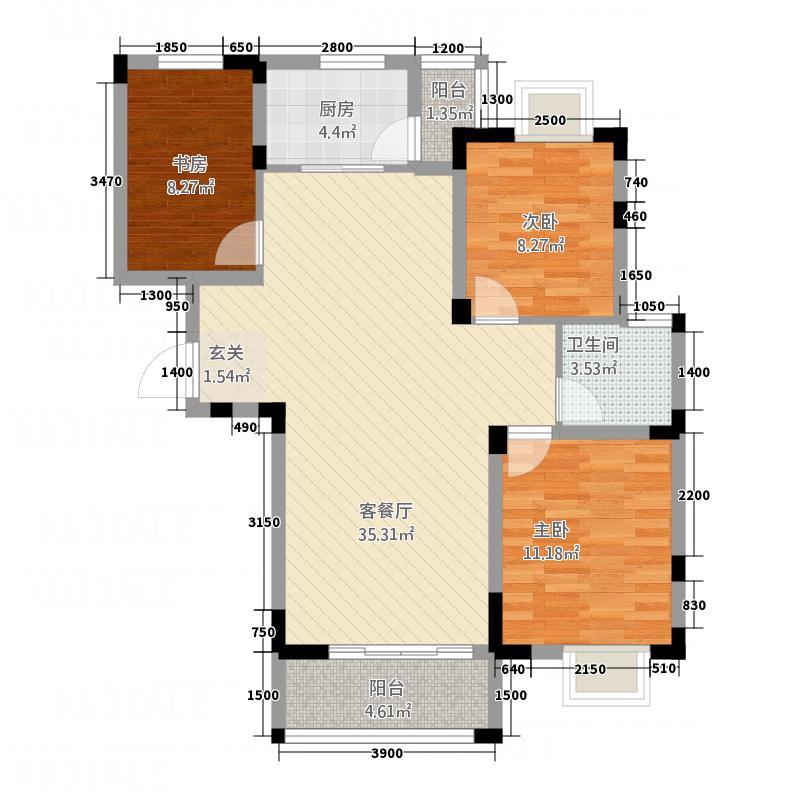 东江御城2317.82㎡C2户型3室2厅1卫1厨