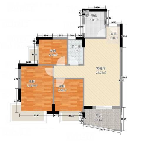 金碧新城3室1厅1卫1厨87.00㎡户型图