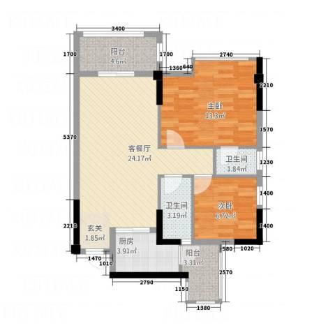 岭南名居2室1厅2卫1厨86.00㎡户型图