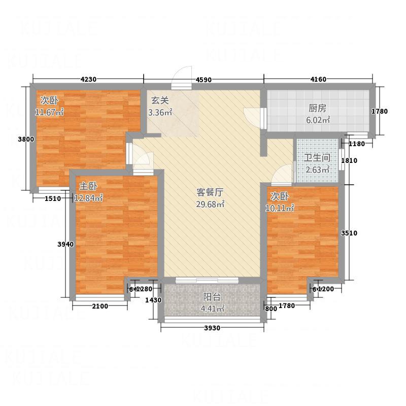 坚邦国际财富中心一期112.00㎡D户型3室2厅1卫1厨