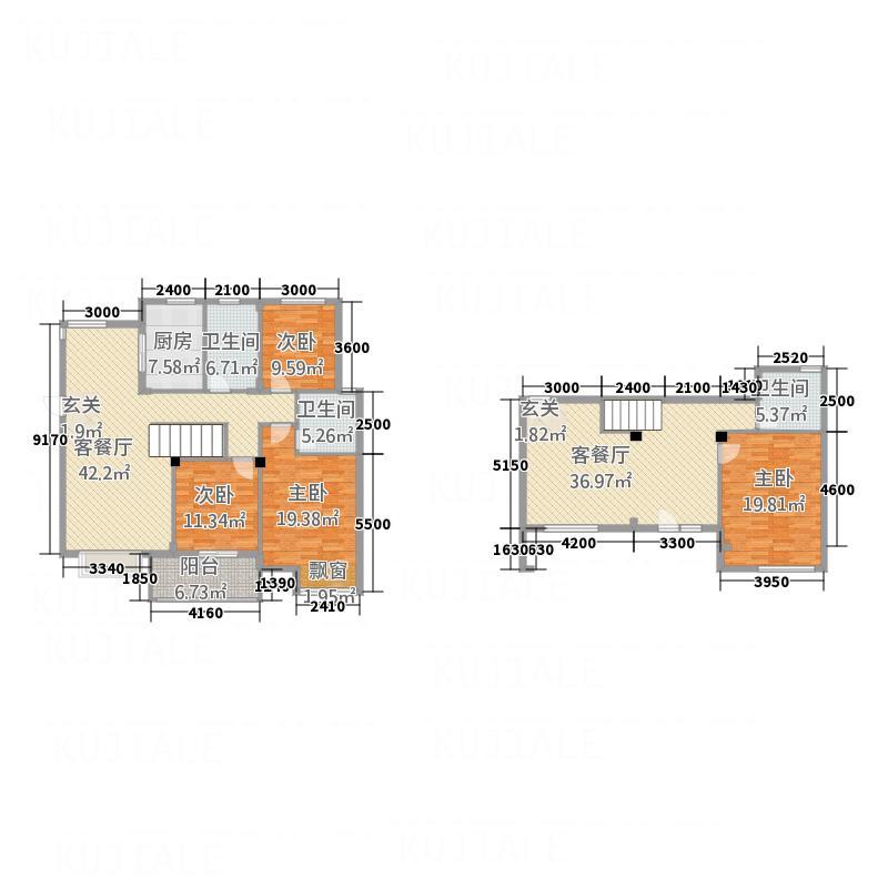 义和花园121.30㎡B2别墅(东)户型5室3厅3卫1厨