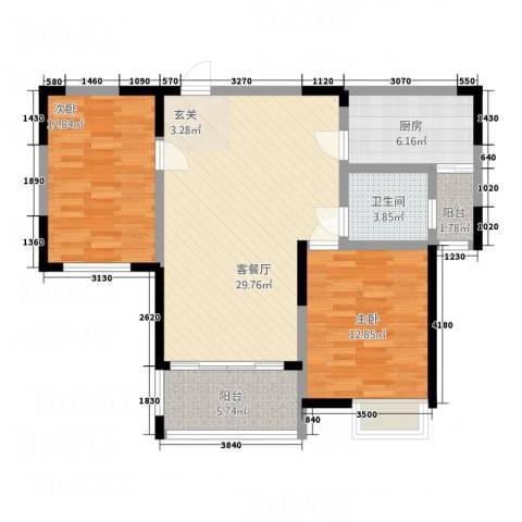 国色天香2室1厅1卫1厨72.99㎡户型图
