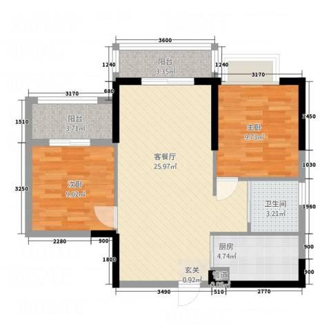 南国豪苑2室1厅1卫1厨68.53㎡户型图