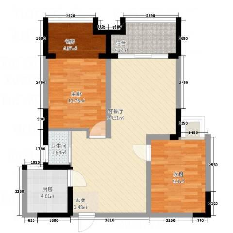 国色天香2室1厅1卫1厨85.00㎡户型图
