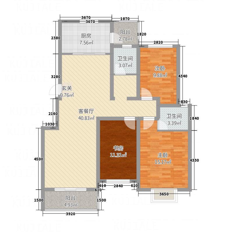 华景雅苑・北湖轩141.35㎡A1户型3室2厅2卫1厨