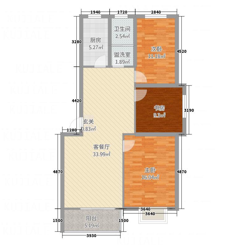 华景雅苑・北湖轩11.31㎡C户型3室2厅1卫1厨