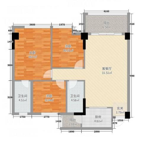 岭南名居3室1厅2卫1厨113.00㎡户型图