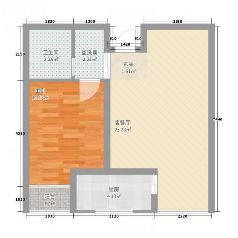 海纳・现代城二期1室2厅1卫1厨65.00㎡户型图