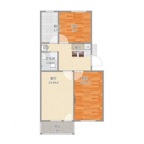 中塔园小区2室1厅1卫1厨77.00㎡户型图