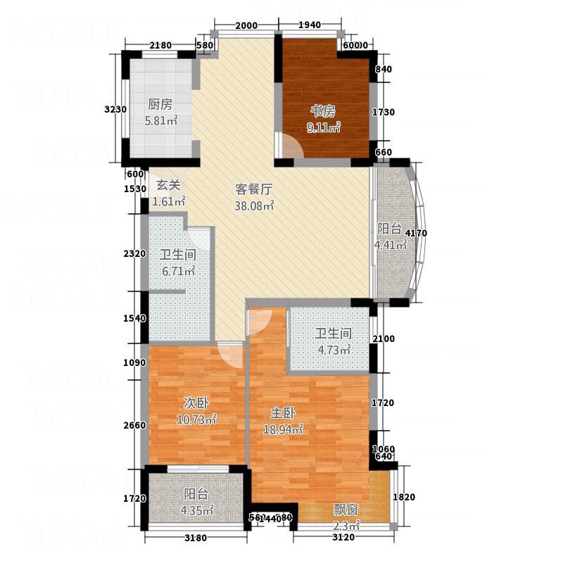 苹果园32138.20㎡小区e户型3室2厅2卫1厨