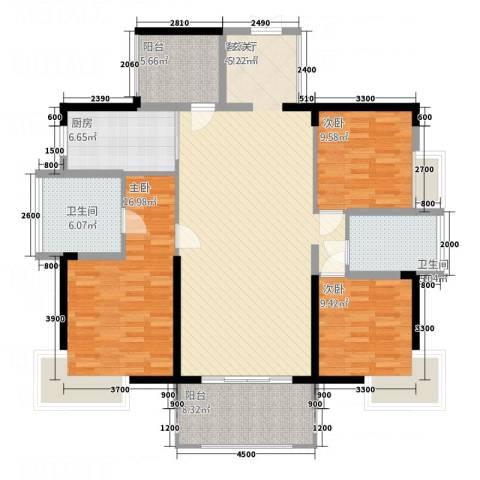 宝能太古城3室1厅2卫1厨138.00㎡户型图