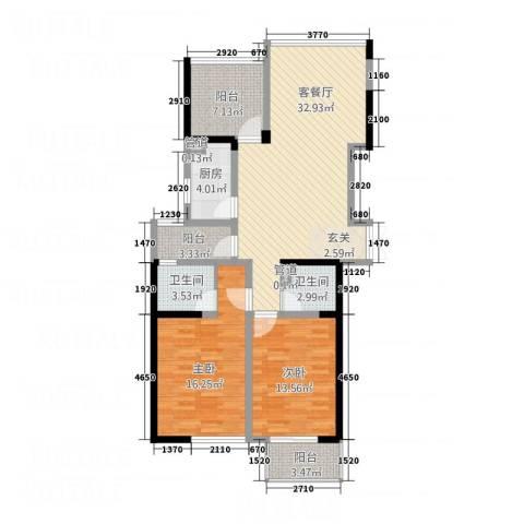 丰臣国际广场2室1厅2卫1厨126.00㎡户型图
