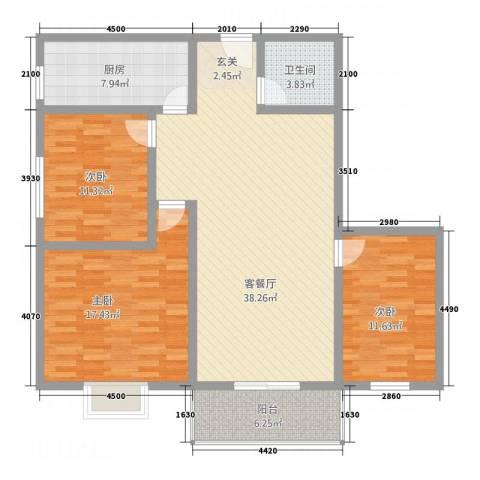 金穗西苑6#楼3室1厅1卫1厨128.00㎡户型图